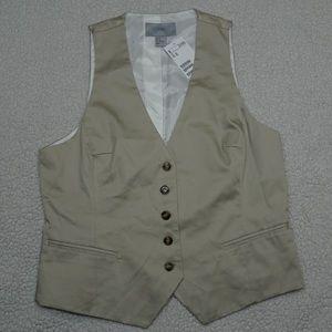 H&M button down khaki Career Vest size 12